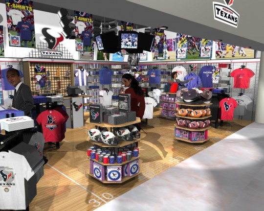 Houston texans airport retail store 3d visualisations for Retail store setup ideas
